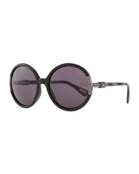 Shiny Round Sunglasses, Black