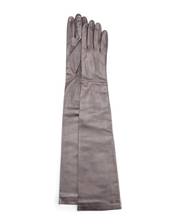 Portolano Opera-Length Leather Gloves, Pewter