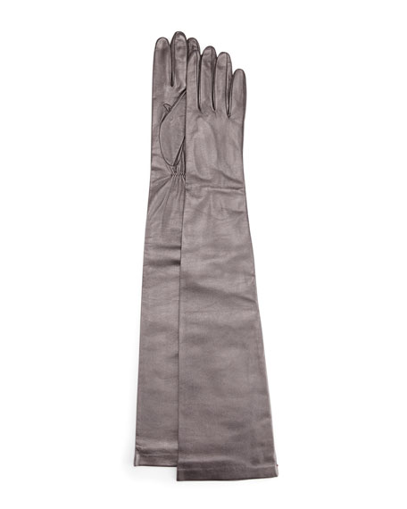 Opera-Length Leather Gloves, Pewter