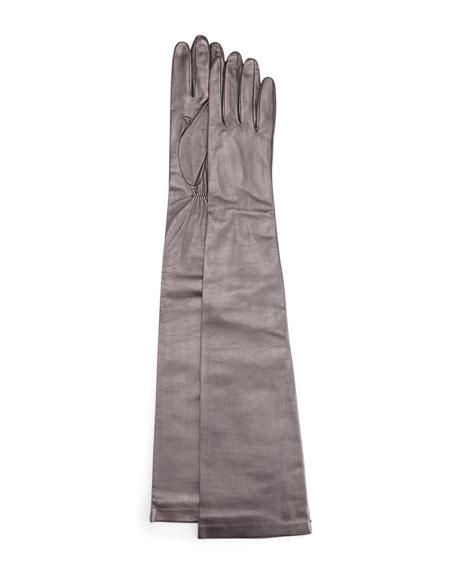 Portolano Opera-Length Leather Gloves, Pewter