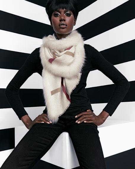Fox Fur-Trim Woven Check Scarf, Ivory