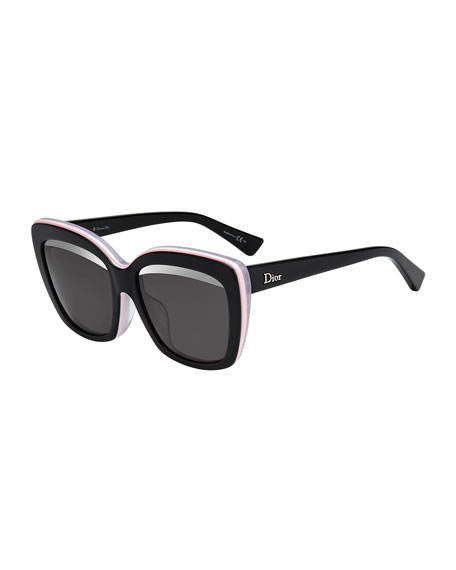 Dior Graphic Square Sunglasses, Black/Pink/White