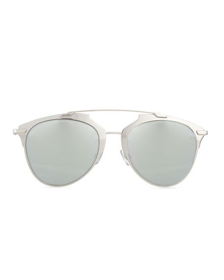 """Dior Reflected"" Two-Tone Aviator Sunglasses, Silvertone/White"