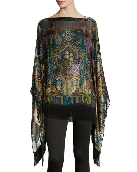 Image 1 of 3: Tapestry-Print Poncho with Fringe
