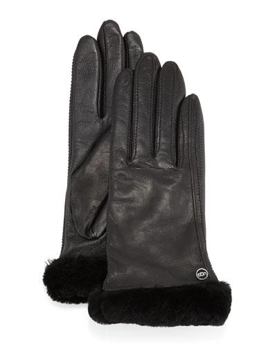 Classic Fur-Trim Leather Smart Gloves, Black