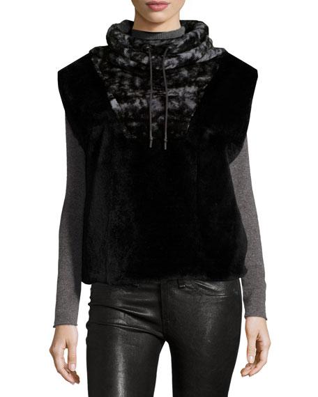 Tasha Tarno Funnel-Collar Rabbit Fur Vest, Black