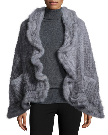 Adrienne LandauMink Fur Knit Wrap w/Pockets