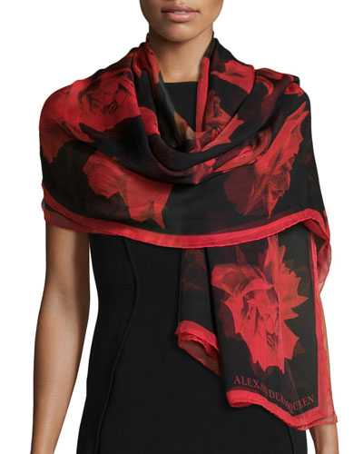 Large Roses Printed Shawl, Black/Red