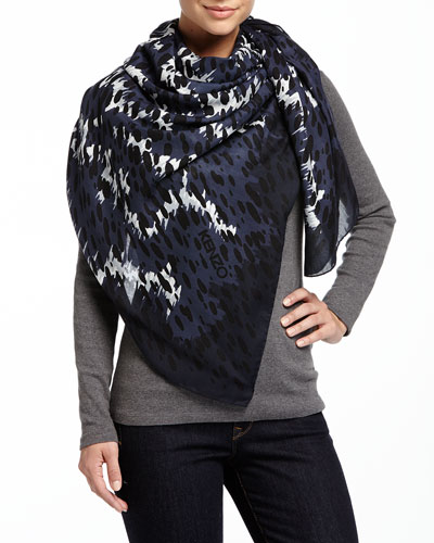 Animal-Print Defilé Scarf, Gray