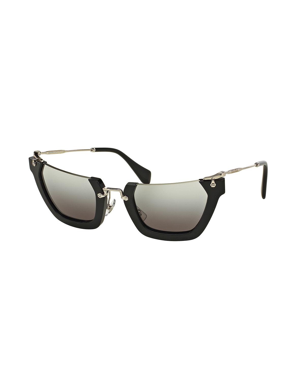 21bb26b2c3b9 Miu Miu Squared Cut-Off Cat-Eye Sunglasses