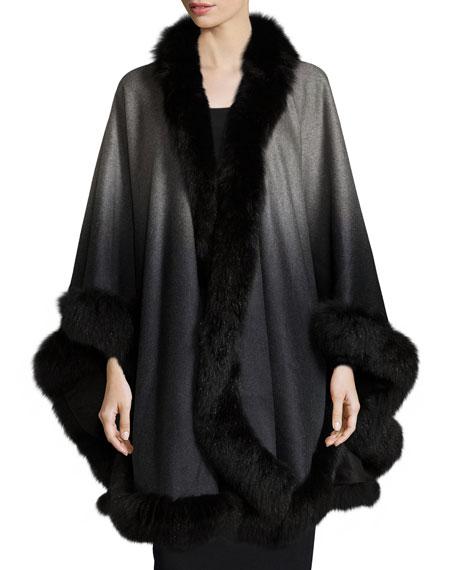 Sofia Cashmere Ombre Cashmere Cape with Fox-Fur-Trim Cape,