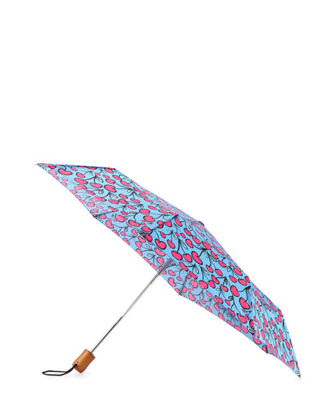 Cherry-Print Umbrella, Pink/Blue