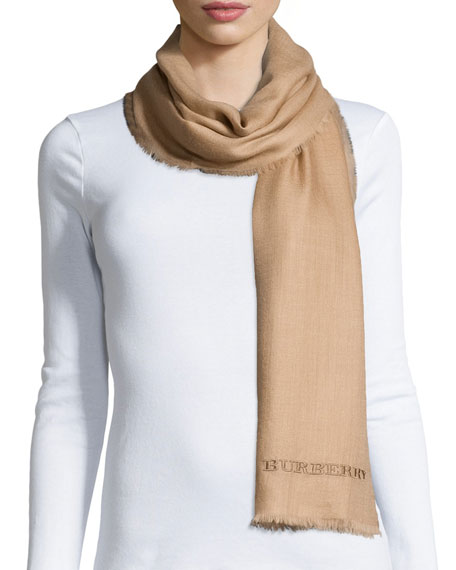 Burberry Embroidered Lightweight Cashmere Scarf, Camel