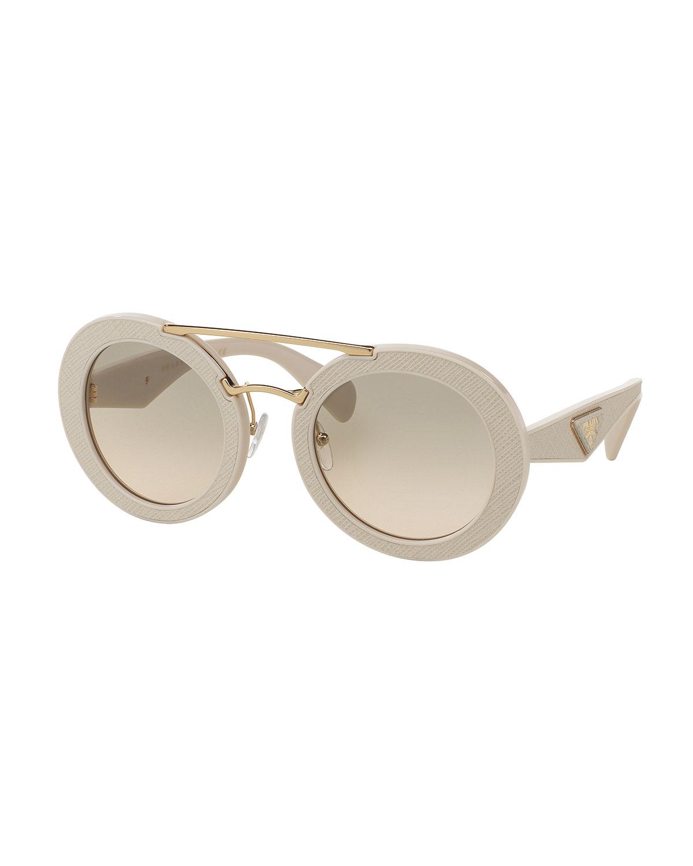3ff3837d8e96 ... best prada round acetate brow bar sunglasses neiman marcus 35c71 5bc6c