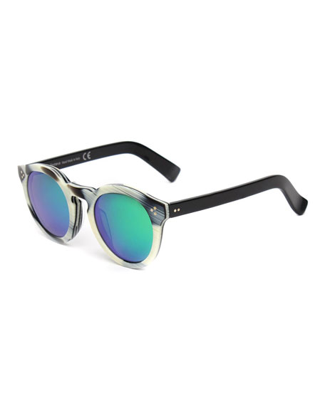 Leonard II Round Sunglasses, Horn/Black/Green