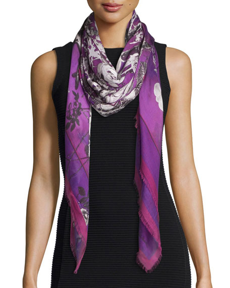 Roberto Cavalli Night Garden Voile Shawl, Purple