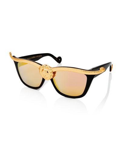 Lioness Mirrored Square Sunglasses, Black