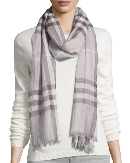 Burberry Giant Check Wool/Silk Gauze Scarf, Pale Gray