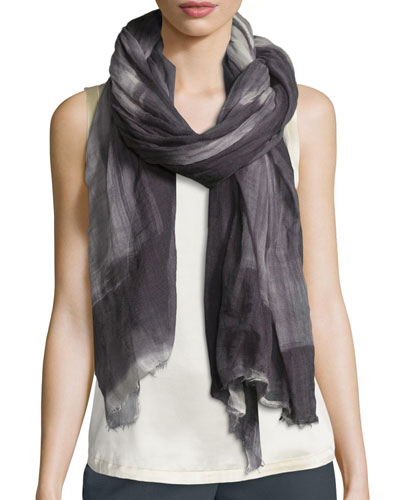 Degrade Gauze Cashmere Scarf, Charcoal