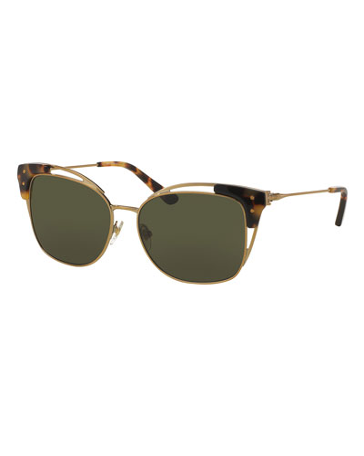 Open-Inset Monochromatic Cat-Eye Sunglasses, Gold/Tortoise