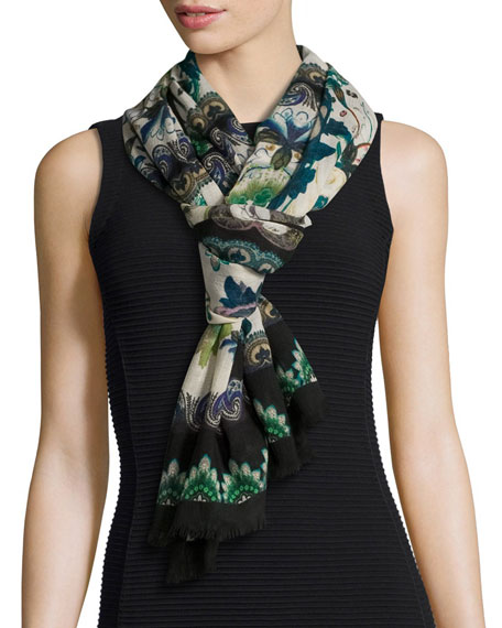 Floral & Paisley Wool Scarf