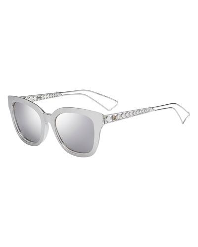 Diorama Caged Mirrored Sunglasses, Silver