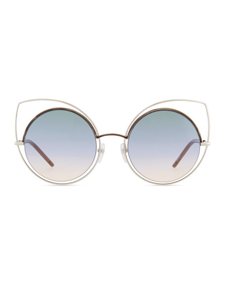 Exaggerated Metal Cat-Eye Sunglasses