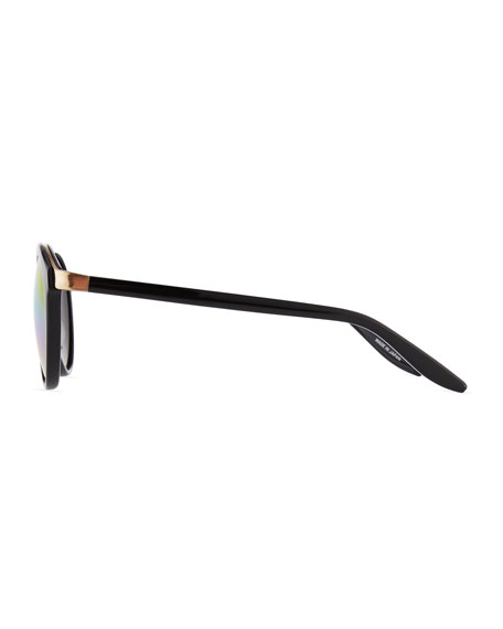 Dalziel Round Iridescent Sunglasses, Black/Gold Rainbow