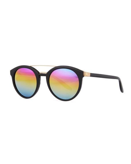 Barton Perreira Dalziel Round Iridescent Sunglasses, Black/Gold