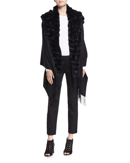 Belle Fare Cashmere Wrap w/ Fur Pompoms, Black