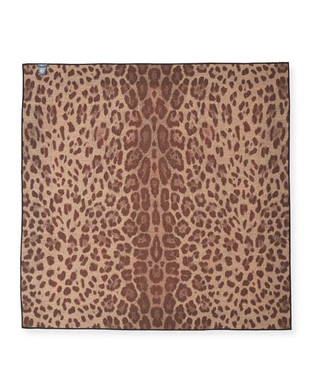 Reversible Paisley & Leopard Square Scarf
