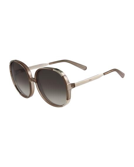 Round Capped Plastic & Metal Sunglasses