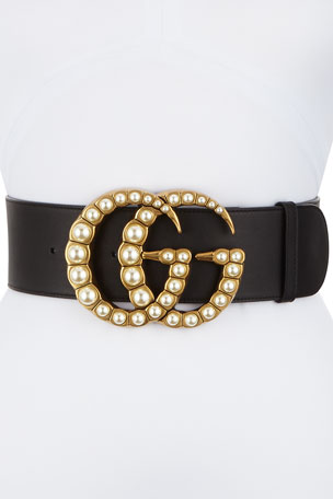 Gucci Wide Leather Belt w/ Pearlescent Beads, Black/Cream