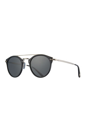 Oliver Peoples Remick Monochromatic Brow-Bar Sunglasses, Black
