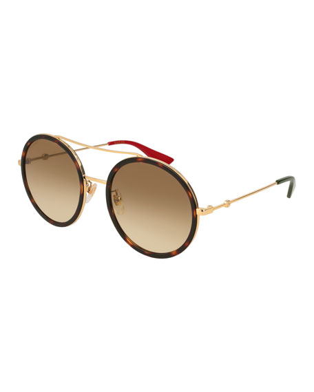 Gucci Glittered Round Metal Sunglasses, Gold/Blue