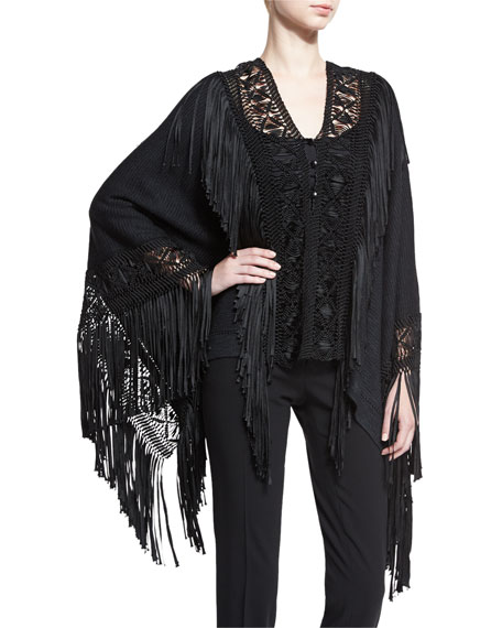 Ralph Lauren Collection Fringed Macrame Poncho Top, Black