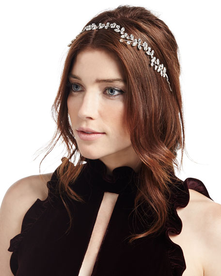 Vera Crystal Leaf Circlet Headband