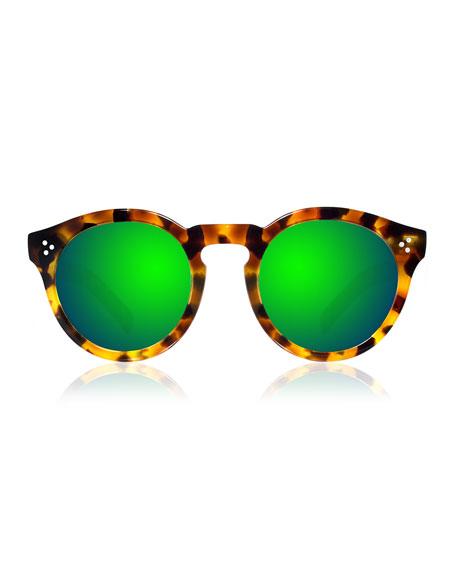 Leonard II Mirror Sunglasses, Tortoise/Green