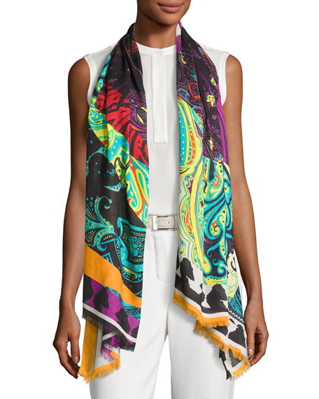 Paisley Patchwork Scarf, Black/White