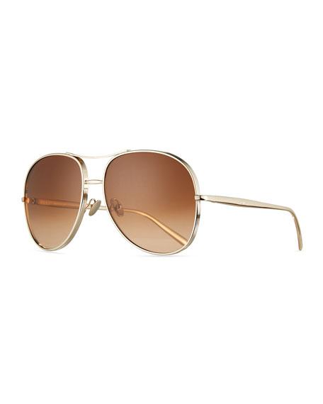 Nola Oversized Square Aviator Sunglasses