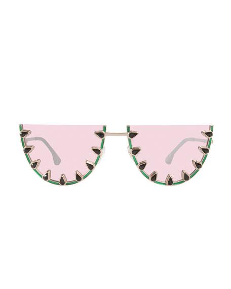 Palm Canyon Flat-Top Watermelon Sunglasses, Green