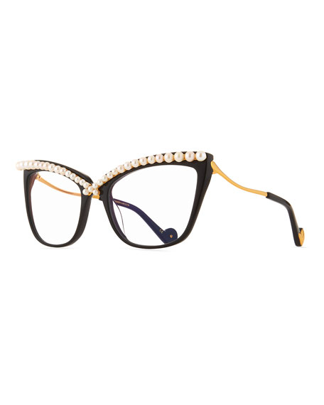 Lusciousness Divine Pearl Cat-Eye Optical Frames, Black