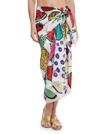 Anna Coroneo Cotton Voile Fruit Scarf, White/Multicolor