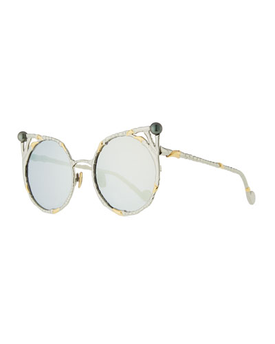 The Claw and the Pearl Peaked Rounded Sunglasses