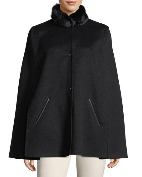 Loro Piana Winter Short Fur-Collar Cape