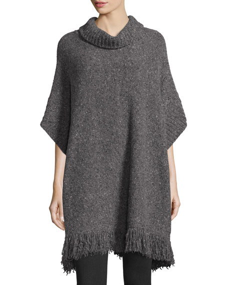 Joie Hatice Tweed Cowl-Neck Tunic Sweater