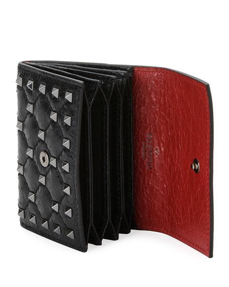 Rockstud Spike Crackled Card Case, Black