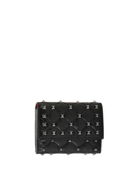 Rockstud Spike Crackled Card Case, Black