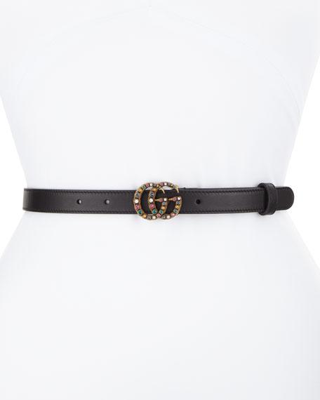 Crystal-Embellished Double G Belt