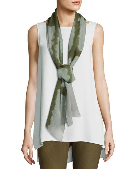 Colorblocked Silk Shibori Scarf, Olive
